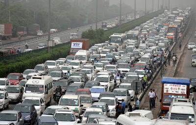 Hero Honda Chowk on a busy morning